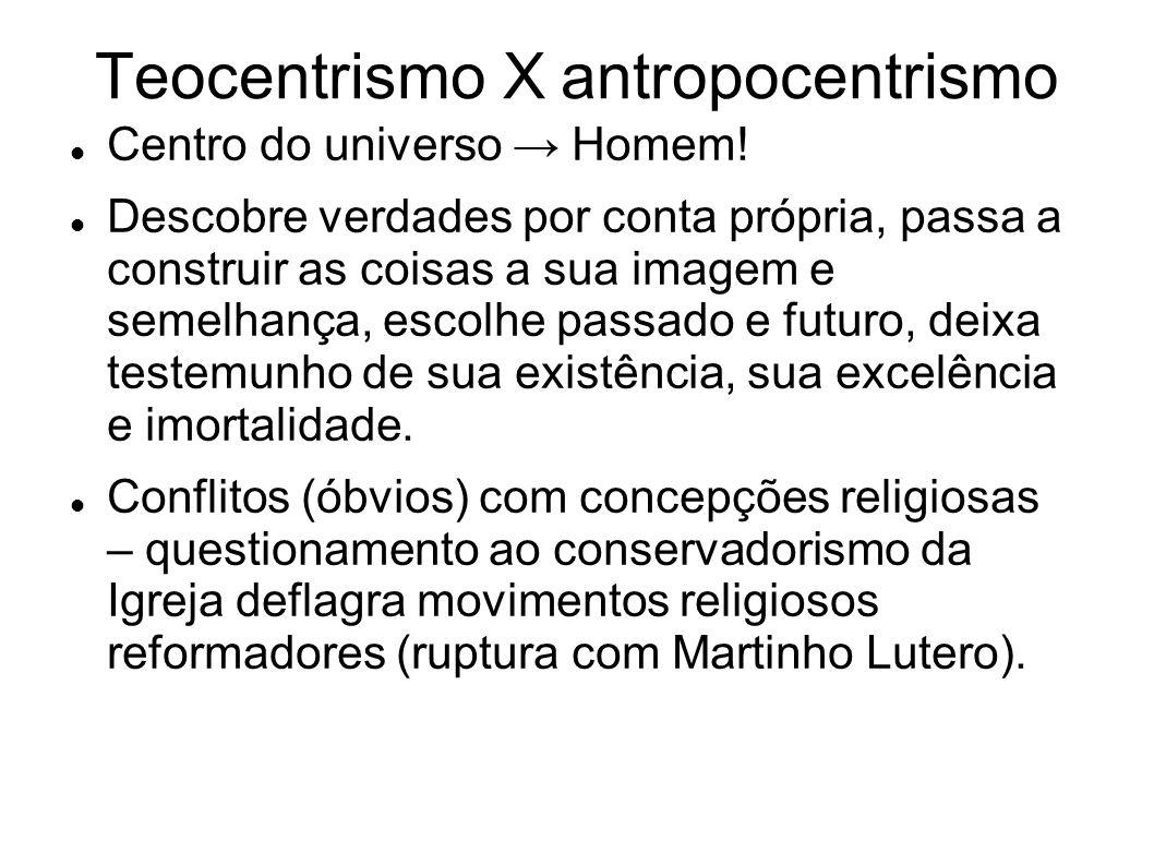 Teocentrismo X antropocentrismo