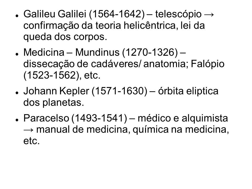 Galileu Galilei (1564-1642) – telescópio → confirmação da teoria helicêntrica, lei da queda dos corpos.