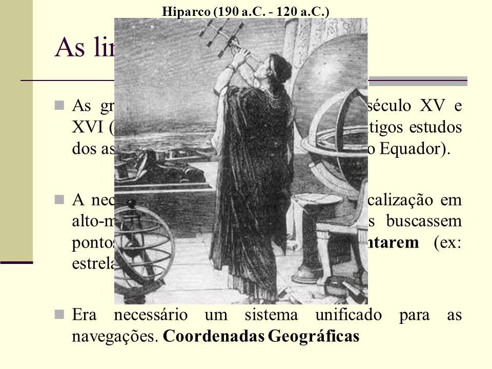 Hiparco (190 a.C. - 120 a.C.) As linhas imaginárias.