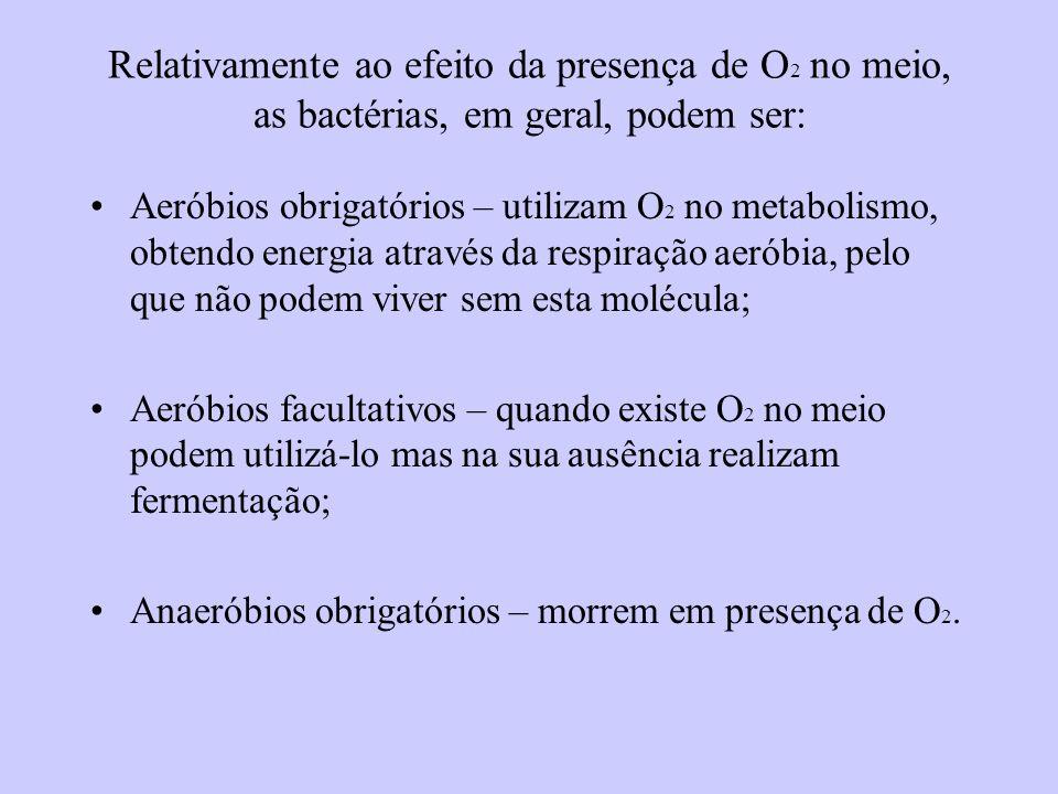 Relativamente ao efeito da presença de O2 no meio, as bactérias, em geral, podem ser:
