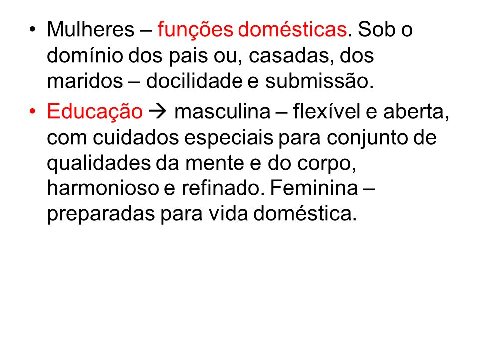 Mulheres – funções domésticas