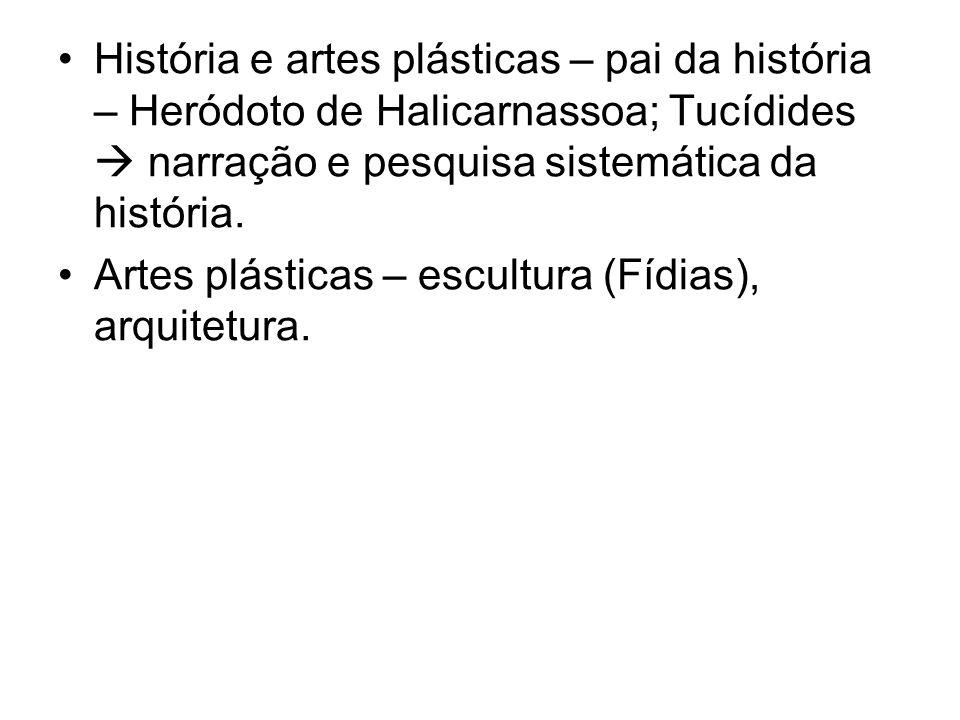 História e artes plásticas – pai da história – Heródoto de Halicarnassoa; Tucídides  narração e pesquisa sistemática da história.