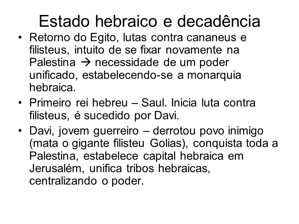 Estado hebraico e decadência