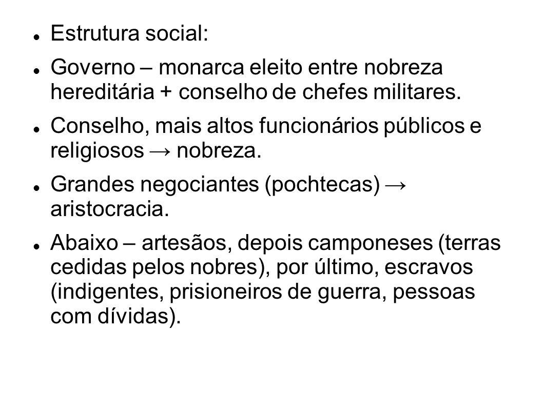 Estrutura social:Governo – monarca eleito entre nobreza hereditária + conselho de chefes militares.