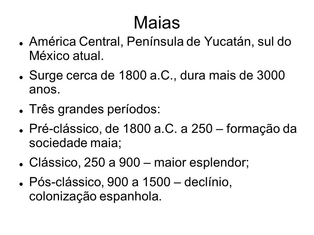 Maias América Central, Península de Yucatán, sul do México atual.