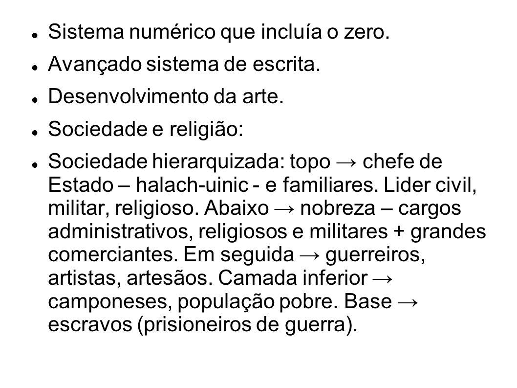 Sistema numérico que incluía o zero.