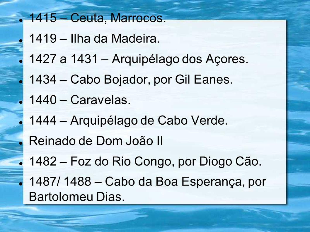 1415 – Ceuta, Marrocos. 1419 – Ilha da Madeira. 1427 a 1431 – Arquipélago dos Açores. 1434 – Cabo Bojador, por Gil Eanes.