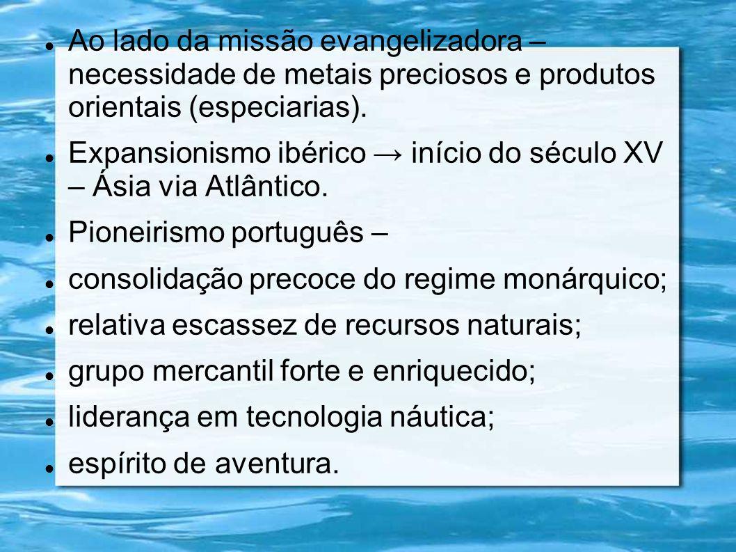 Ao lado da missão evangelizadora – necessidade de metais preciosos e produtos orientais (especiarias).