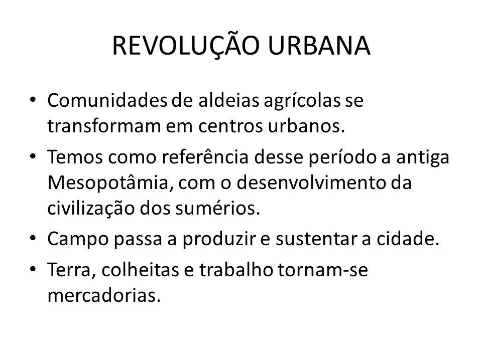 REVOLUÇÃO URBANA Comunidades de aldeias agrícolas se transformam em centros urbanos.