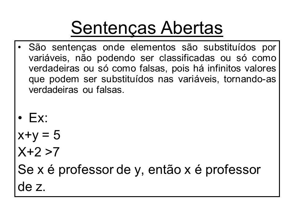 Sentenças Abertas Ex: x+y = 5 X+2 >7
