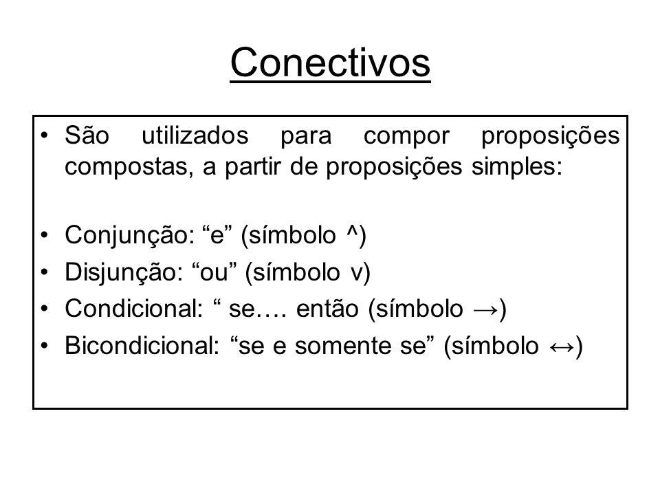 Conectivos São utilizados para compor proposições compostas, a partir de proposições simples: Conjunção: e (símbolo ^)