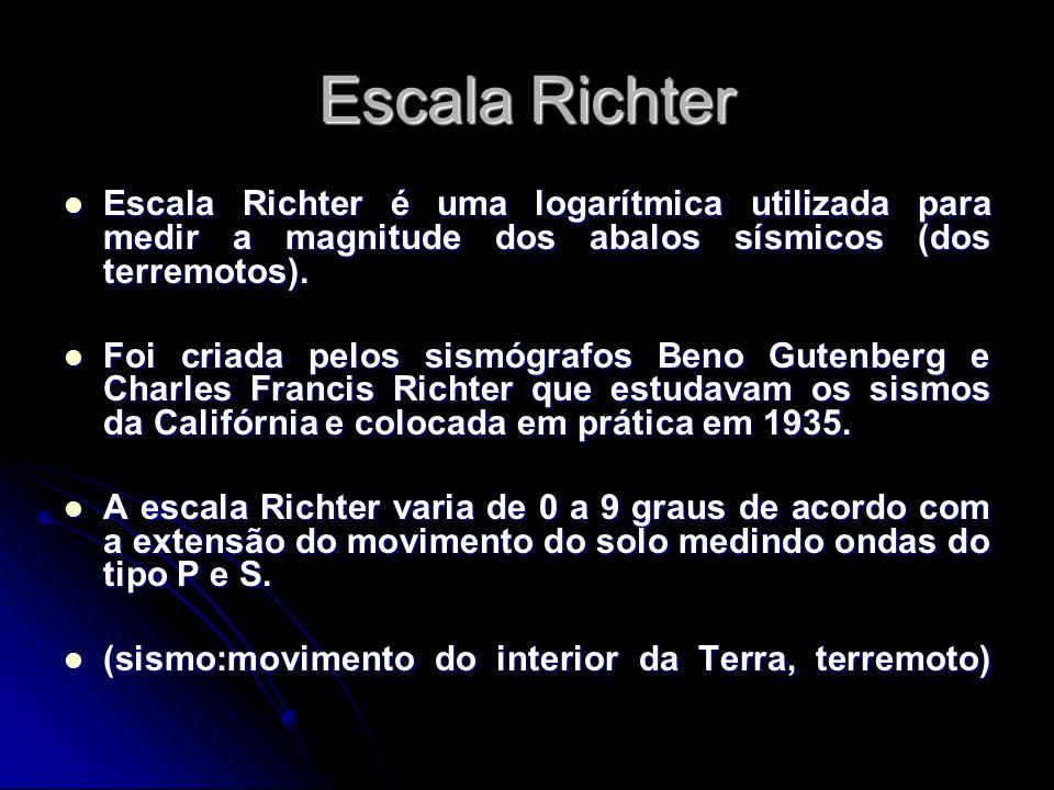 Escala Richter Escala Richter é uma logarítmica utilizada para medir a magnitude dos abalos sísmicos (dos terremotos).