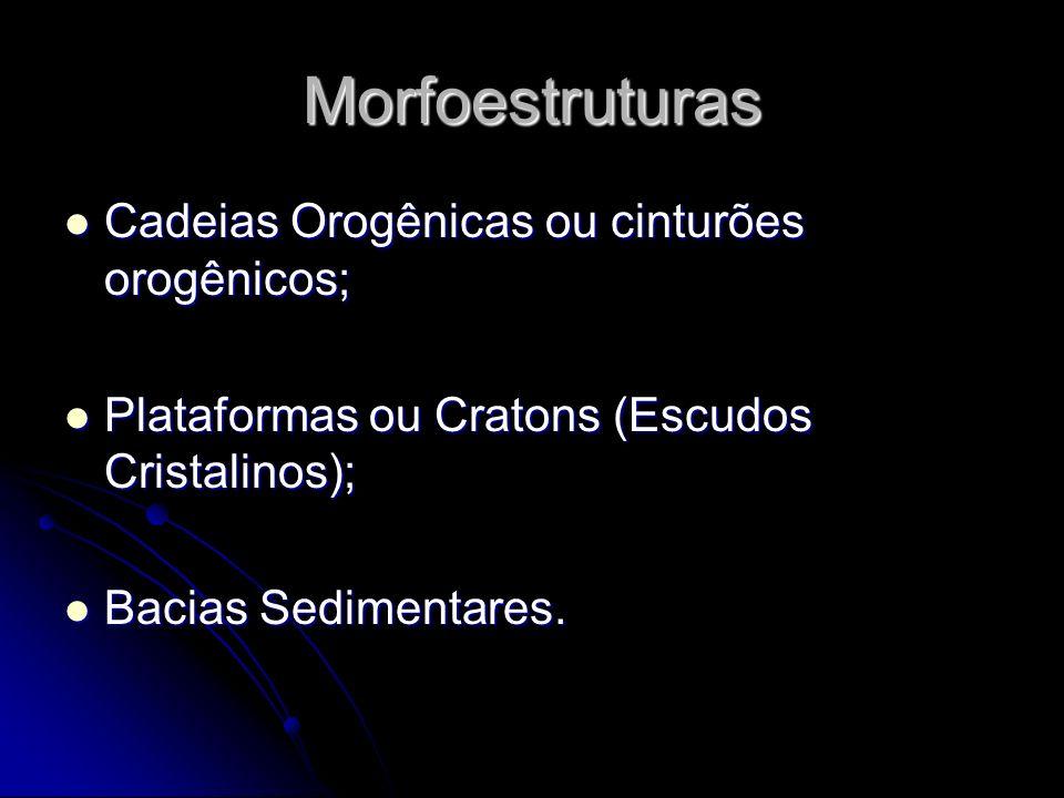 Morfoestruturas Cadeias Orogênicas ou cinturões orogênicos;