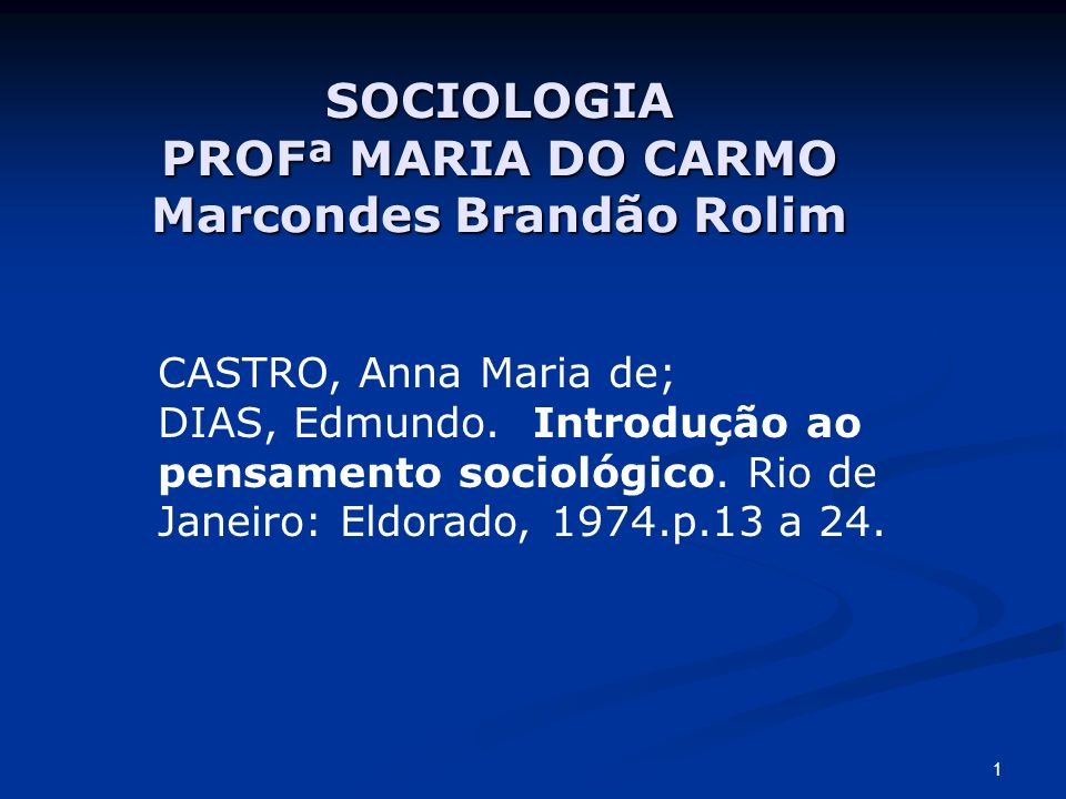 SOCIOLOGIA PROFª MARIA DO CARMO Marcondes Brandão Rolim
