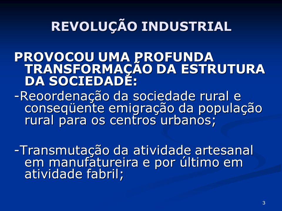 REVOLUÇÃO INDUSTRIAL PROVOCOU UMA PROFUNDA TRANSFORMAÇÃO DA ESTRUTURA DA SOCIEDADE: