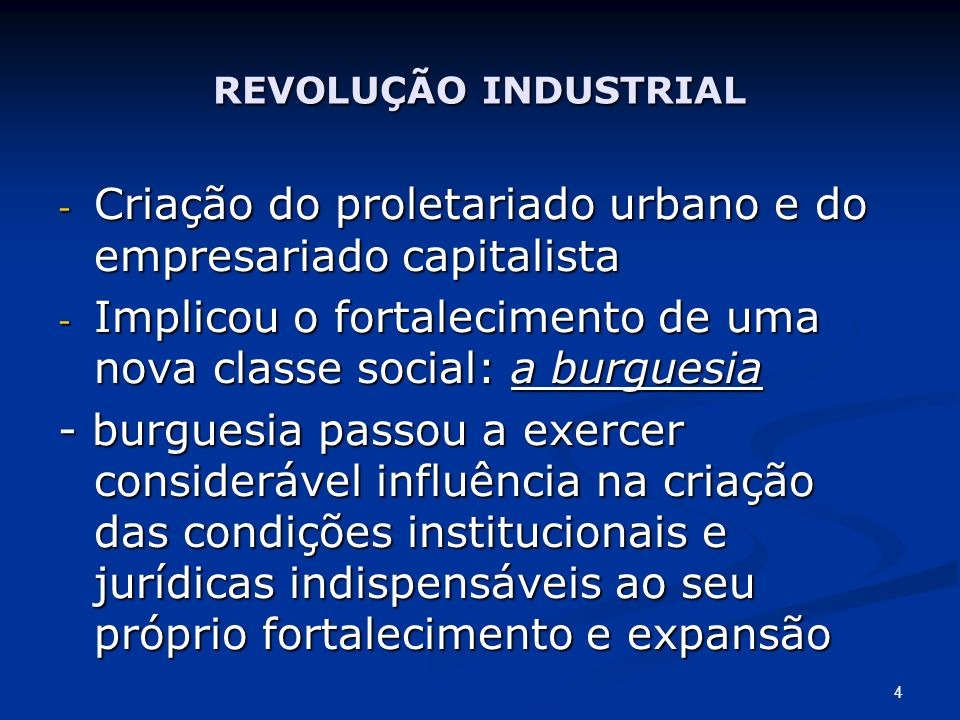 Criação do proletariado urbano e do empresariado capitalista