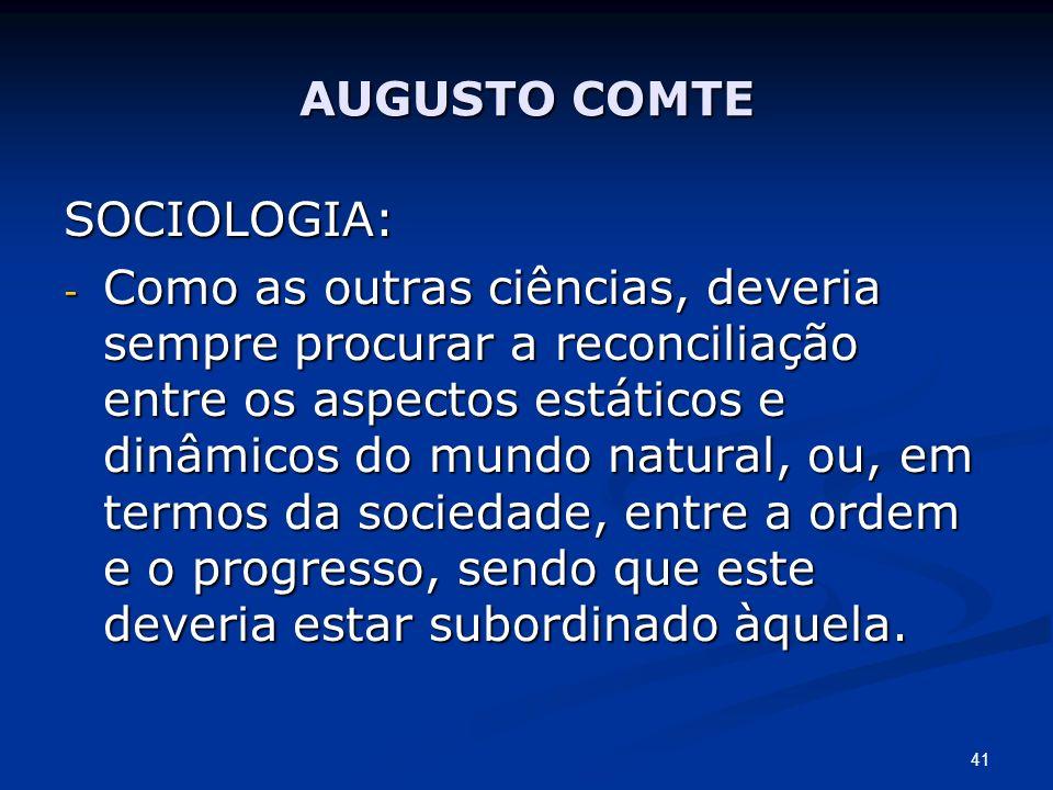 AUGUSTO COMTE SOCIOLOGIA: