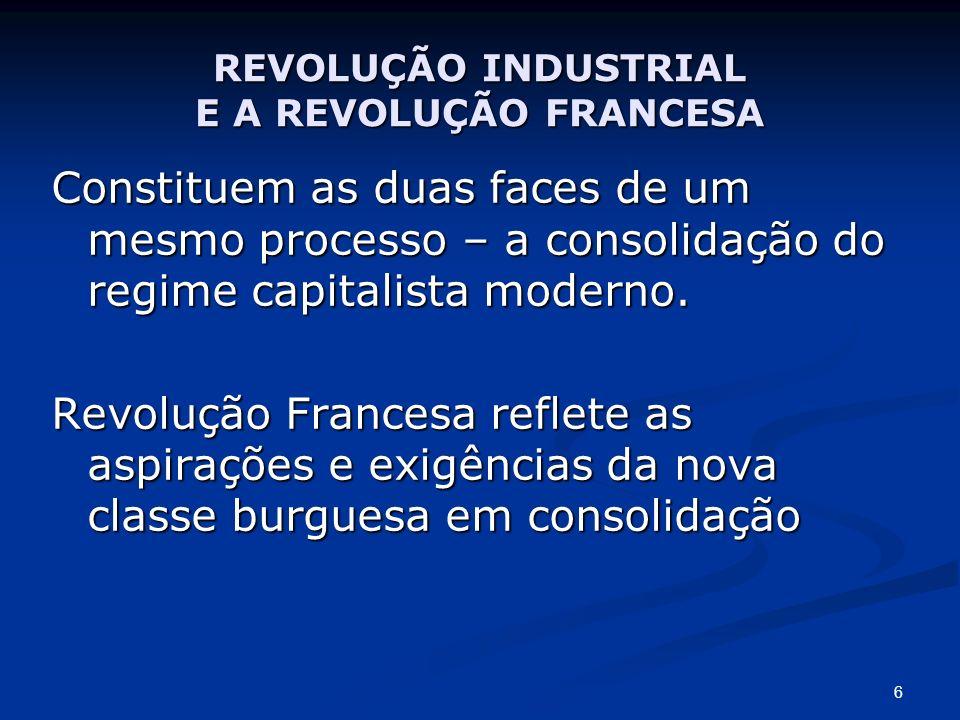 REVOLUÇÃO INDUSTRIAL E A REVOLUÇÃO FRANCESA