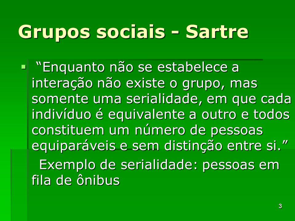 Grupos sociais - Sartre