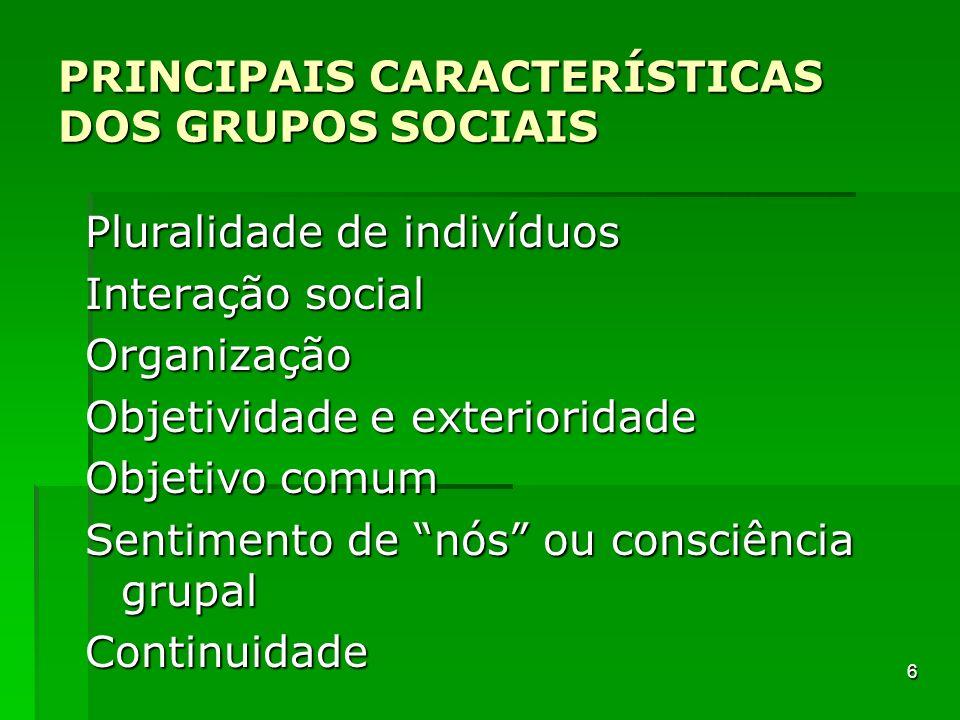PRINCIPAIS CARACTERÍSTICAS DOS GRUPOS SOCIAIS