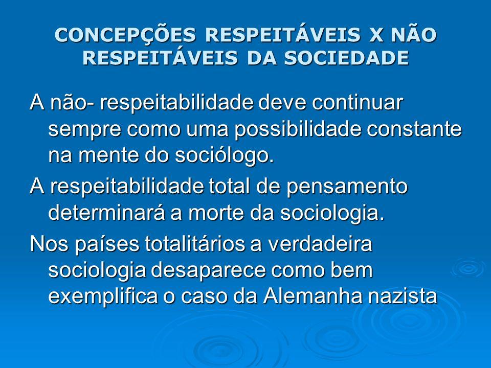 CONCEPÇÕES RESPEITÁVEIS X NÃO RESPEITÁVEIS DA SOCIEDADE