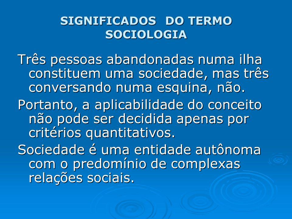 SIGNIFICADOS DO TERMO SOCIOLOGIA