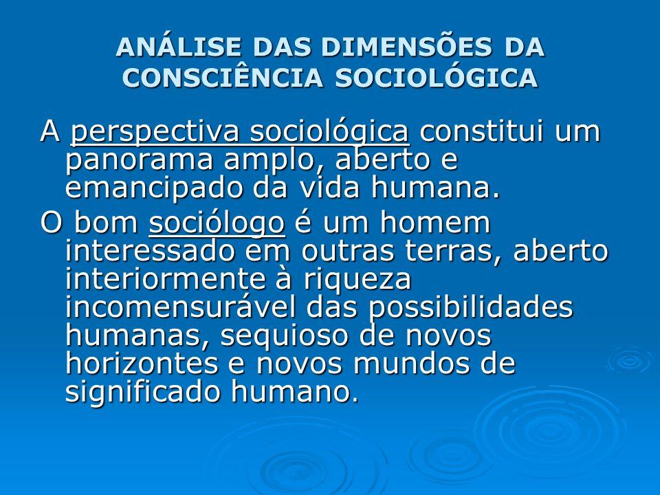 ANÁLISE DAS DIMENSÕES DA CONSCIÊNCIA SOCIOLÓGICA