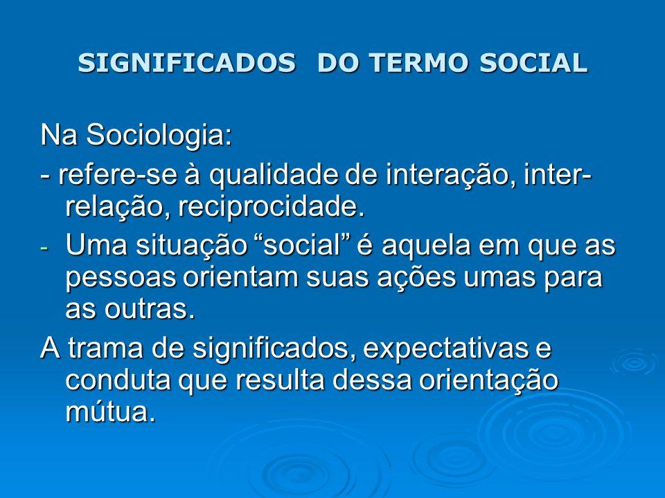 SIGNIFICADOS DO TERMO SOCIAL