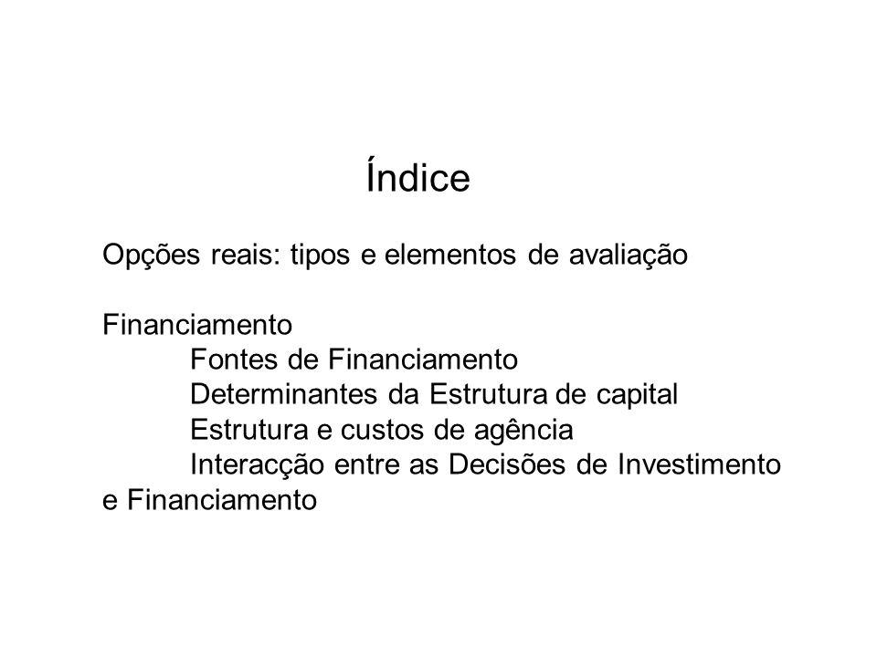 Índice Opções reais: tipos e elementos de avaliação. Financiamento. Fontes de Financiamento. Determinantes da Estrutura de capital.