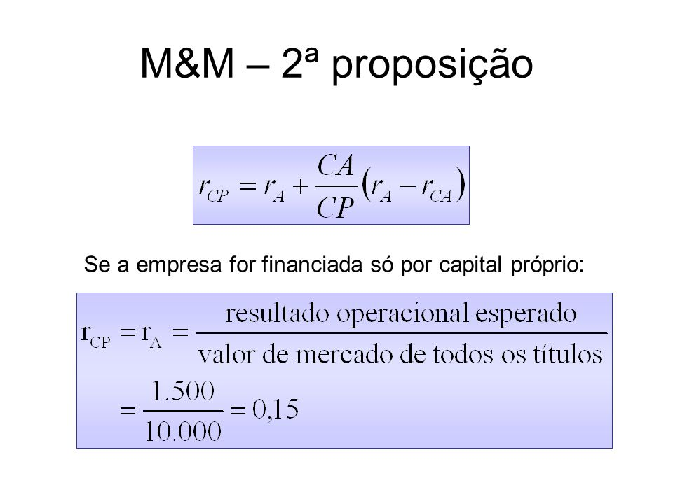 M&M – 2ª proposição Se a empresa for financiada só por capital próprio: