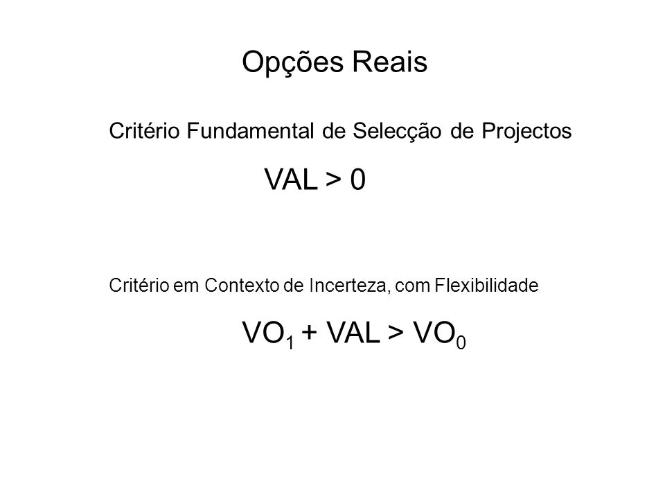 Opções Reais Critério Fundamental de Selecção de Projectos