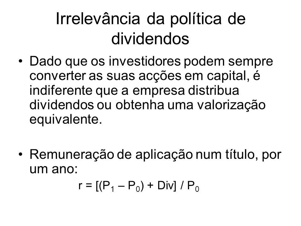 Irrelevância da política de dividendos