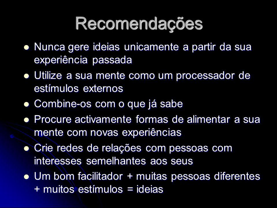 Recomendações Nunca gere ideias unicamente a partir da sua experiência passada. Utilize a sua mente como um processador de estímulos externos.