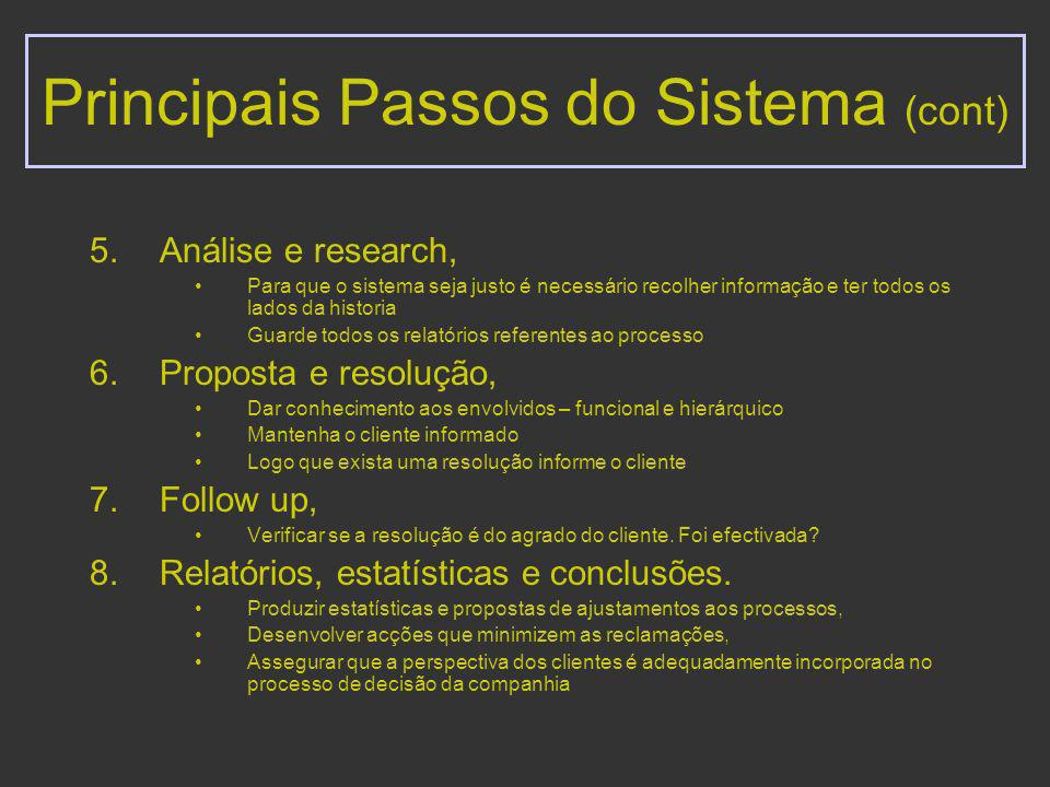 Principais Passos do Sistema (cont)