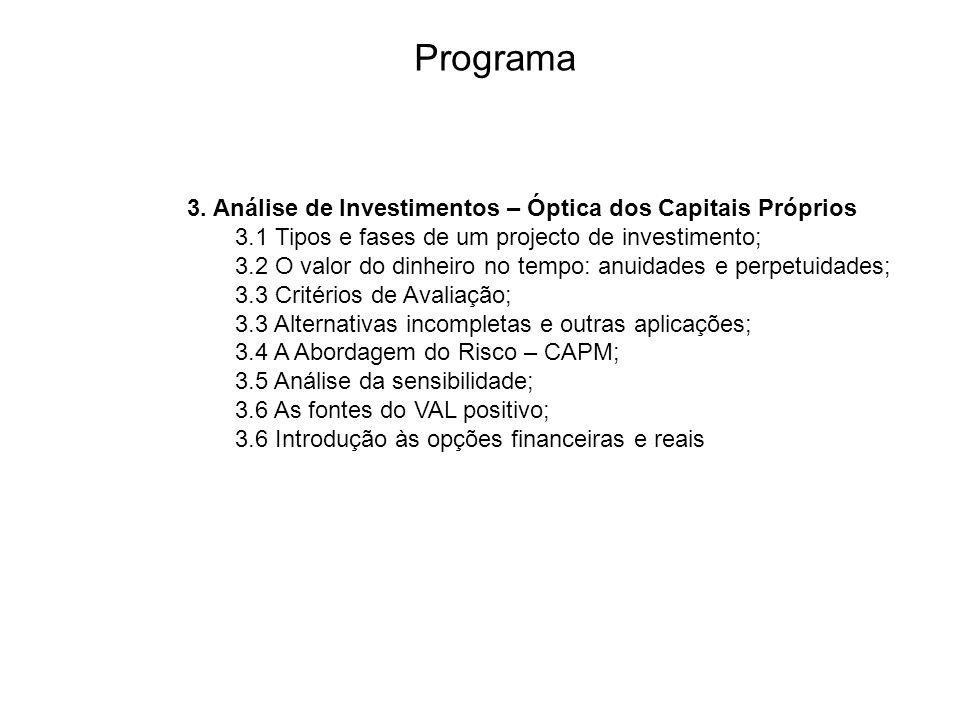 Programa 3. Análise de Investimentos – Óptica dos Capitais Próprios