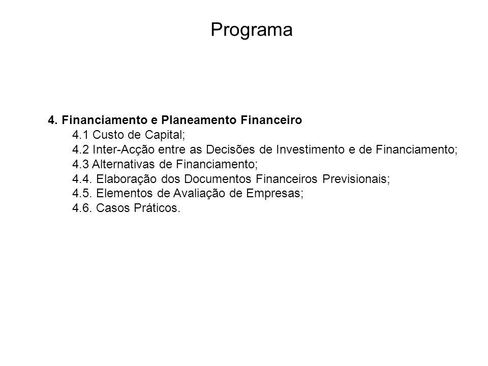 Programa 4. Financiamento e Planeamento Financeiro