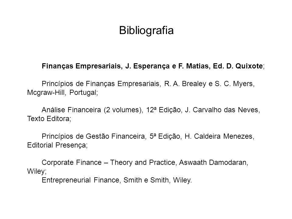Bibliografia Finanças Empresariais, J. Esperança e F. Matias, Ed. D. Quixote;