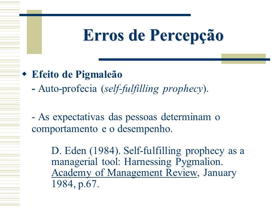 Erros de Percepção Efeito de Pigmaleão