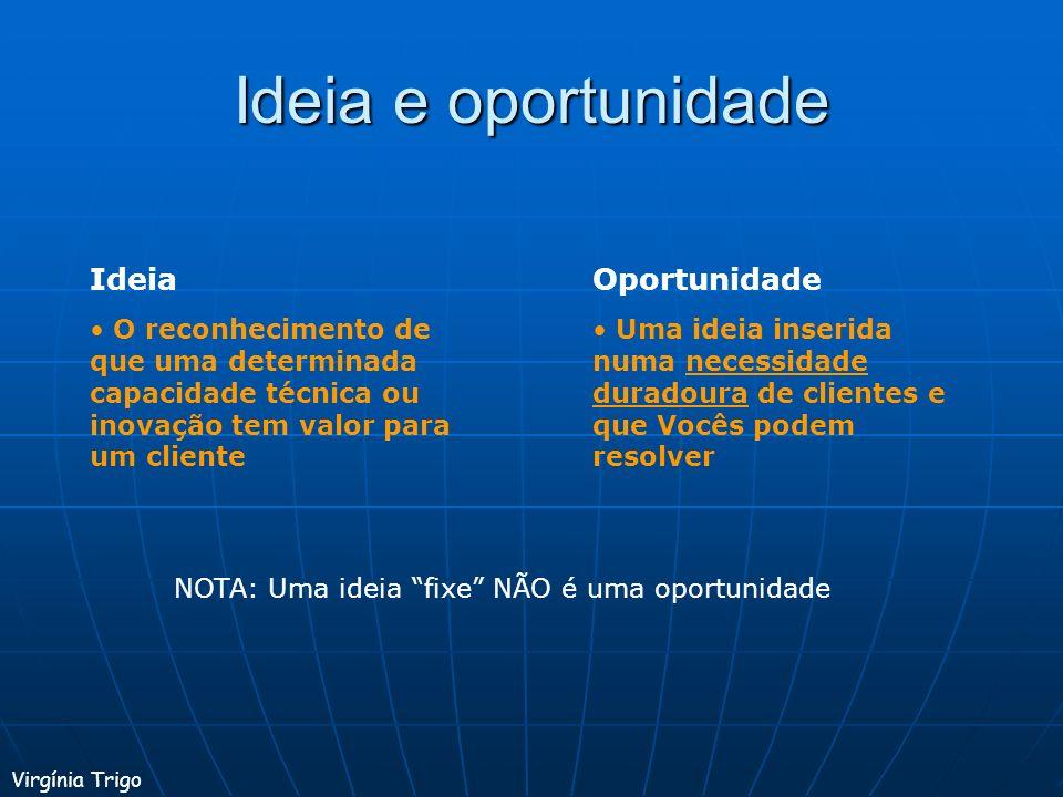 Ideia e oportunidade Ideia Oportunidade