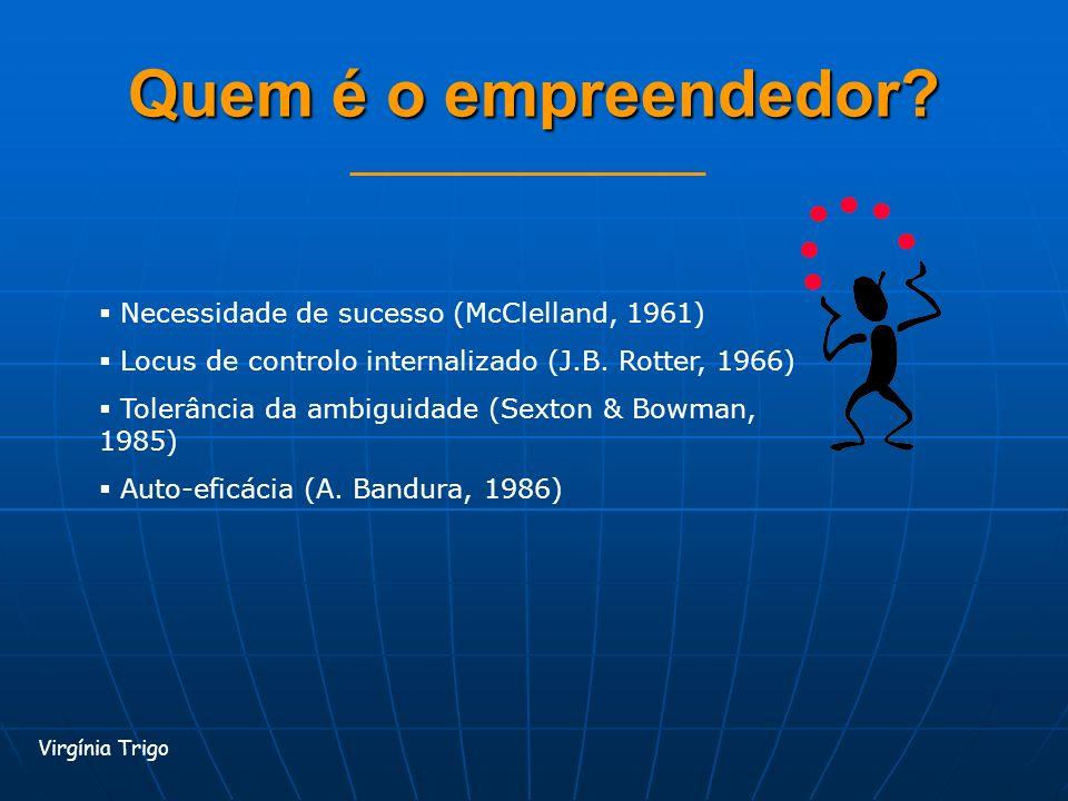 Quem é o empreendedor Necessidade de sucesso (McClelland, 1961)