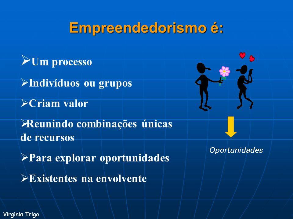 Empreendedorismo é: Um processo Indivíduos ou grupos Criam valor