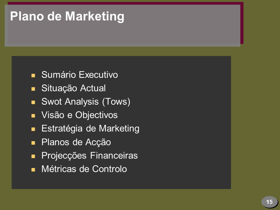 Plano de Marketing Sumário Executivo Situação Actual