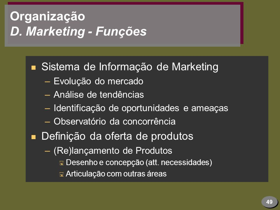 Organização D. Marketing - Funções