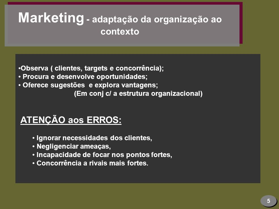 Marketing - adaptação da organização ao contexto