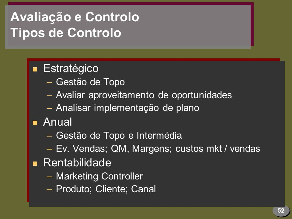 Avaliação e Controlo Tipos de Controlo
