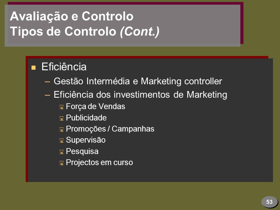 Avaliação e Controlo Tipos de Controlo (Cont.)