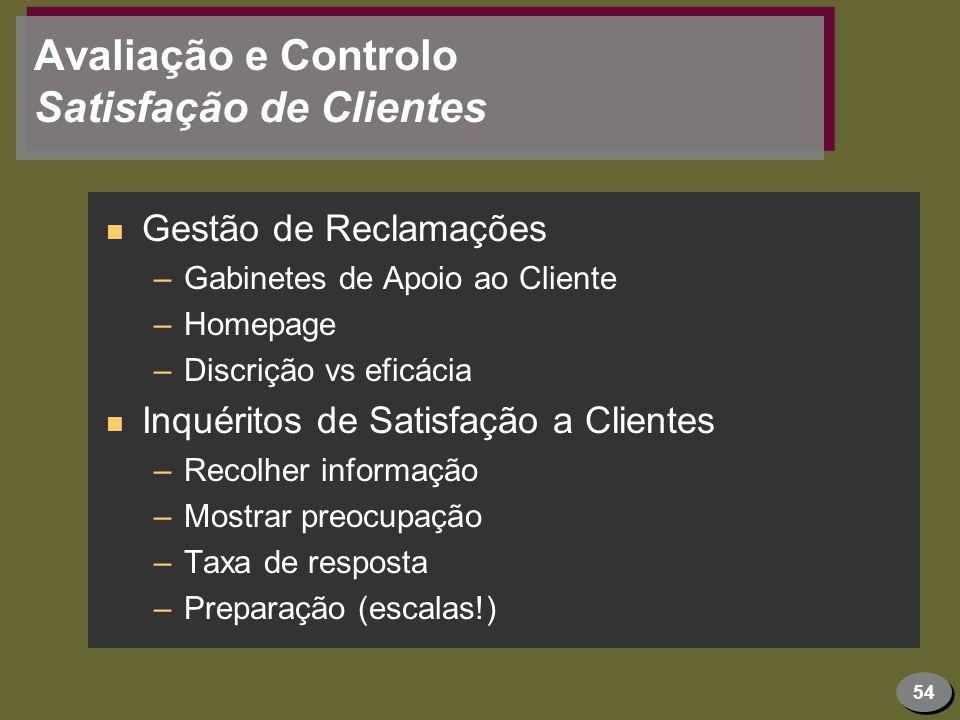 Avaliação e Controlo Satisfação de Clientes