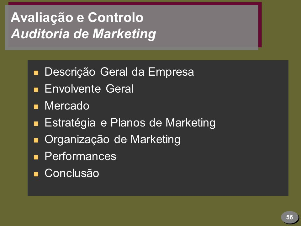 Avaliação e Controlo Auditoria de Marketing