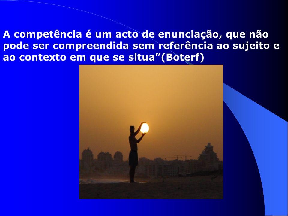 A competência é um acto de enunciação, que não pode ser compreendida sem referência ao sujeito e ao contexto em que se situa (Boterf)