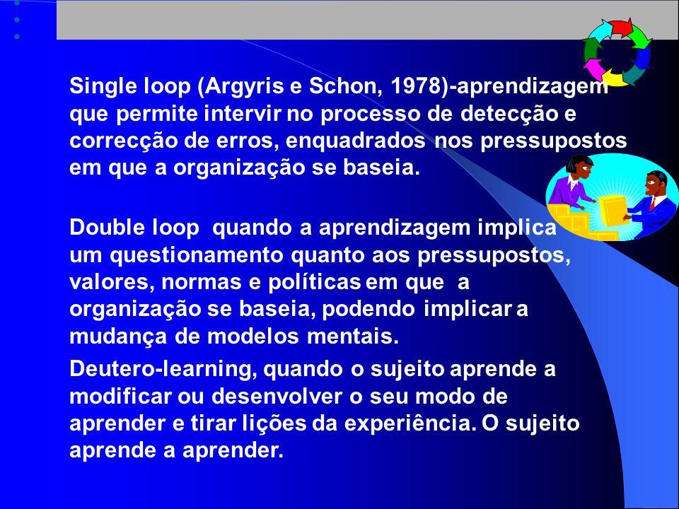Single loop (Argyris e Schon, 1978)-aprendizagem que permite intervir no processo de detecção e correcção de erros, enquadrados nos pressupostos em que a organização se baseia.